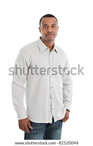 Natural Serious Looking Young African American Male Model on Isolated Background - stock photo