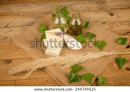 Natural soap and moisturizer based on essential oils - stock photo