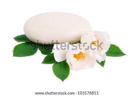 Natural soap and two rose flower isolated on white background - stock photo