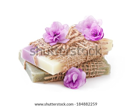 Natural soap isolated on white background - stock photo