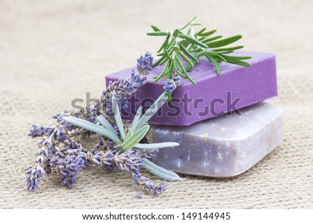natural soap with herbs - stock photo