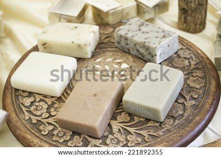 Natural soaps in brown craft market, sale - stock photo