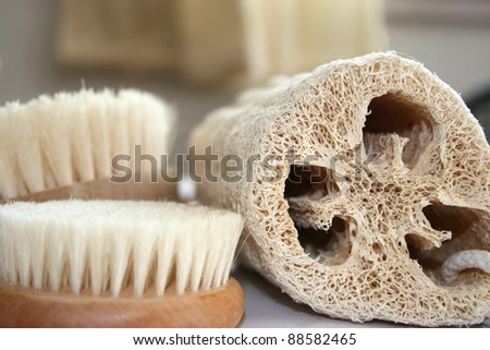 Natural spa accessories lufa bristle brushes and foot brush - stock photo