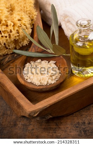 natural spa setting with olive oil and bath salt - stock photo