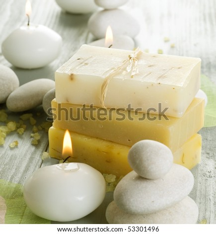 Natural Spa Treatments.Handmade Soap - stock photo