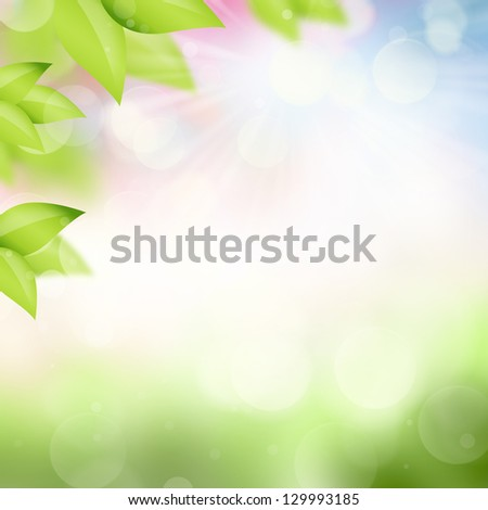 Natural spring and summer background with selective focus and leaves on foreground - stock photo