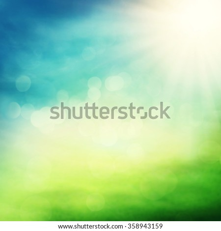 Natural spring background with bokeh - stock photo