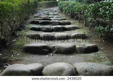 Natural staircase in a Japanese garden - stock photo