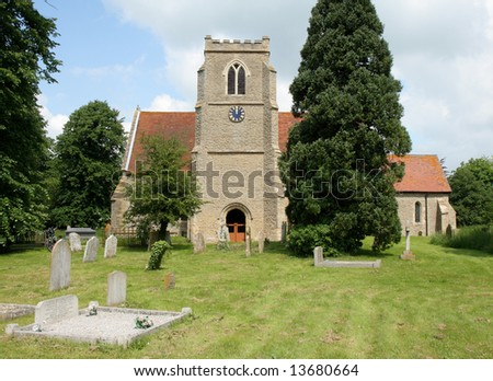 Natural Stone Church and Cemetery in a Rural English Village