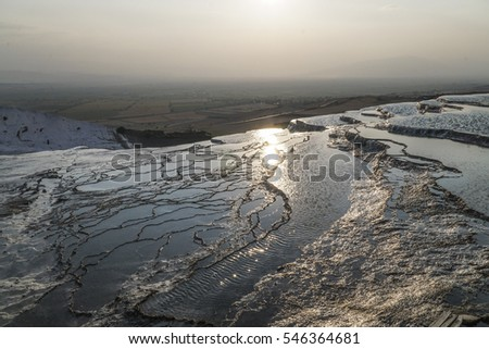 natural stone ponds in Pamukkale, Turkey