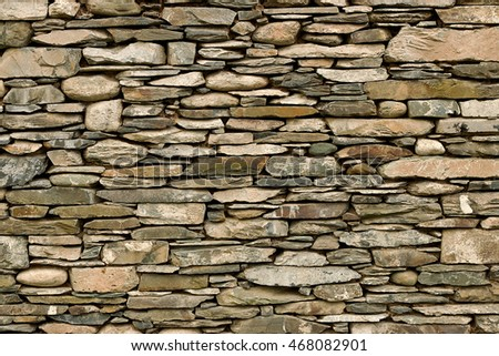 Natural stone wall hand crafted by an experienced mason, great background or wallpaper for builders.