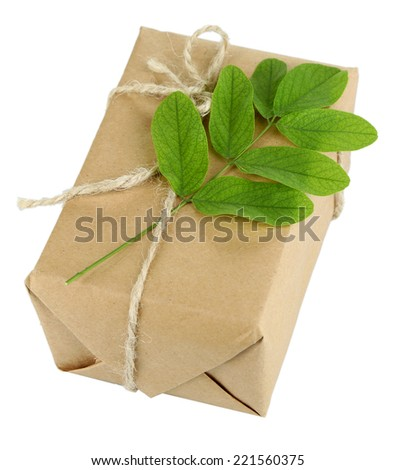 Natural style handcrafted gift box with fresh leaves and rustic twine, isolated on white background