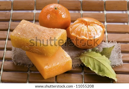 Natural tangerine soap - stock photo