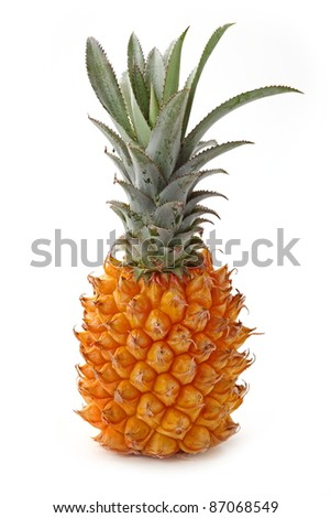 Natural tasty pineapple isolated on white.