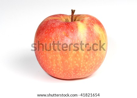 Natural tasty red apple isolated on white.
