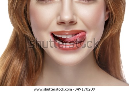 natural tongue open mouth - stock photo