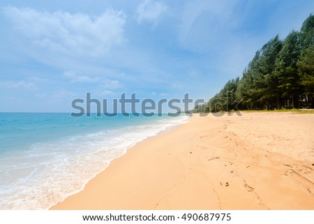 Natural tropical sandy beach and calm sea landscape with trees and blue sky background. Mai Khao beach on Phuket island, Thailand.