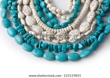 natural turquoise and white beads - stock photo