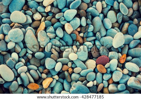 Natural vintage colorful pebbles background