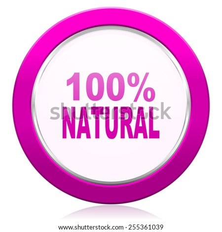 natural violet icon 100 percent natural sign  - stock photo