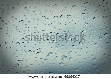 natural water drop on Car Glass - stock photo