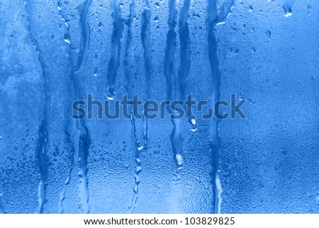 natural water drop on the glass - stock photo