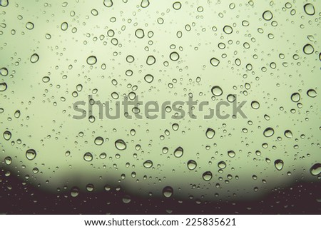 Natural water drops on  window glass background - stock photo