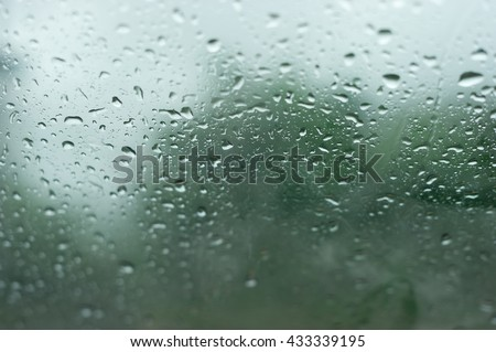 natural water drops on window glass with green background - stock photo