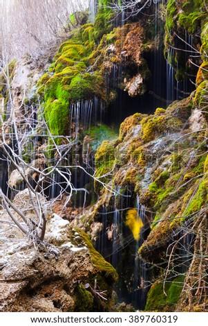 Natural   waterfall at river. Cuenca, Spain - stock photo