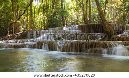 Natural waterfall in deep forest national park, natural landscape background - stock photo