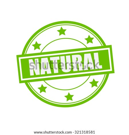 Natural white stamp text on circle on green background and star