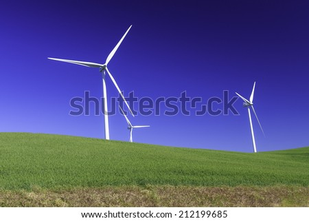 Natural wind power by turbine for renewable energy source - stock photo