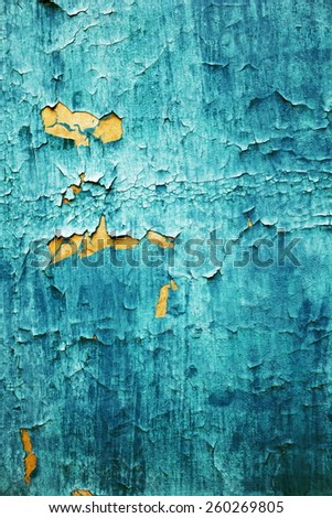 natural wood background with cracked old paint - stock photo