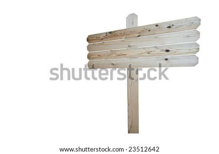 Natural wood blank sign isolated on white background