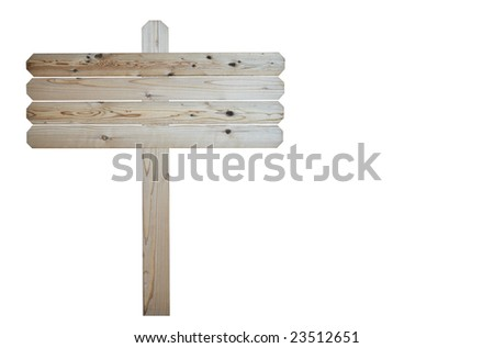 Natural wood blank sign isolated on white background - stock photo