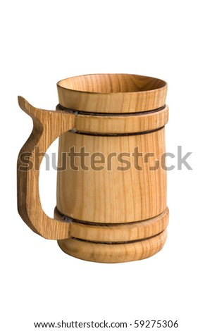 natural wood bucket isolated on white