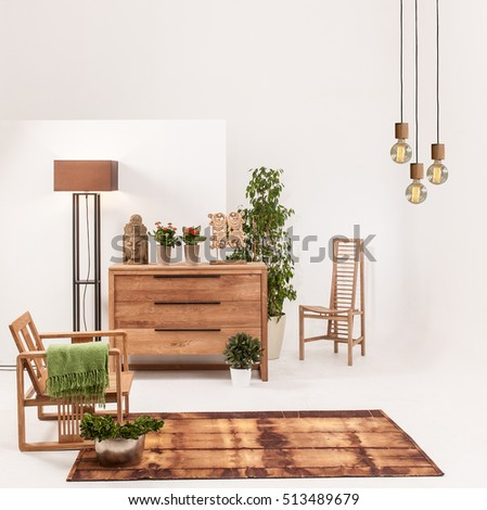 Natural Wood Furniture White Wall Decor, Modern Lamp Part 64