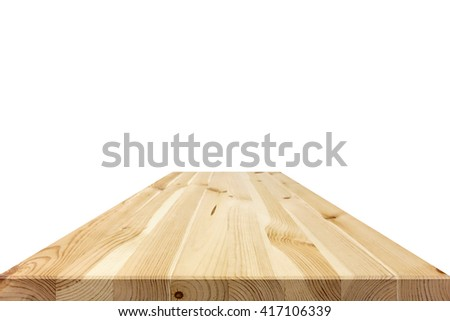 Natural wood pattern table top isolated on white background - can be used for display or montage your products