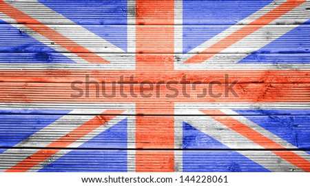 Natural wood planks texture background with the colors of the flag of Great Britain