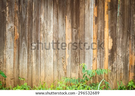 Natural wooden background with  grass - stock photo