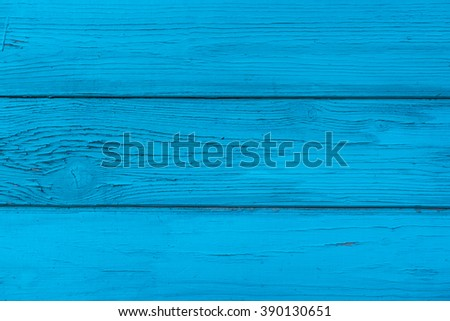 Natural wooden blue boards, wall or fence with knots. Painted wooden horizontal planks. Abstract textured background, empty template - stock photo