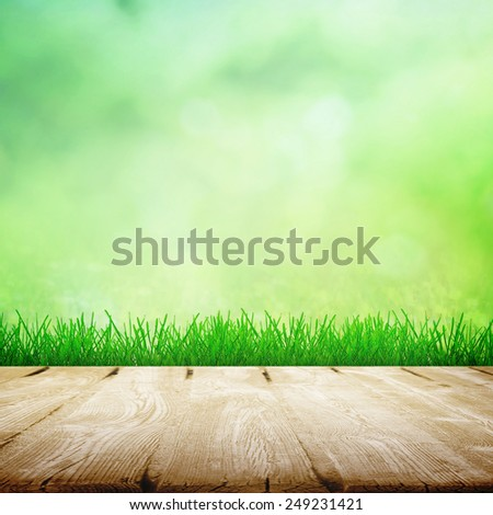 Natural wooden path in spring time