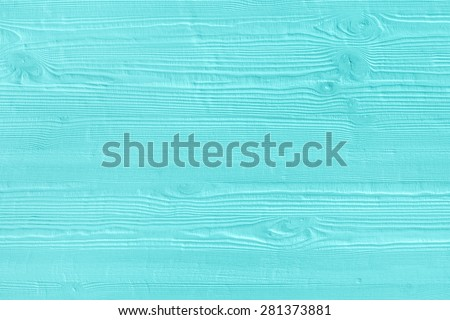 Natural wooden turquoise boards, wall or fence with knots. Abstract textured mint background, empty template - stock photo
