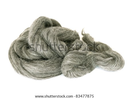 Natural wool isolated on white background - stock photo