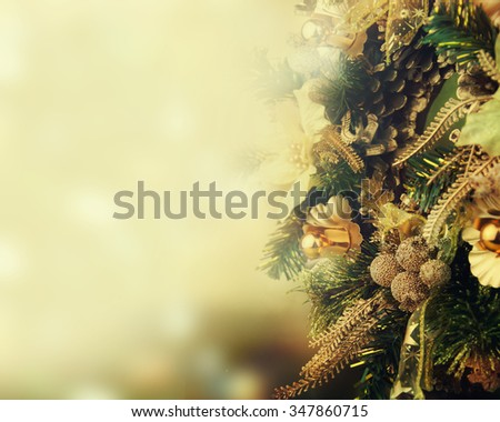 Natural Wreath with Christmas Light - stock photo