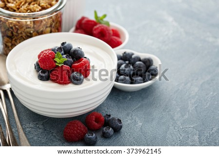 Natural yogurt in a bowl with fresh berries