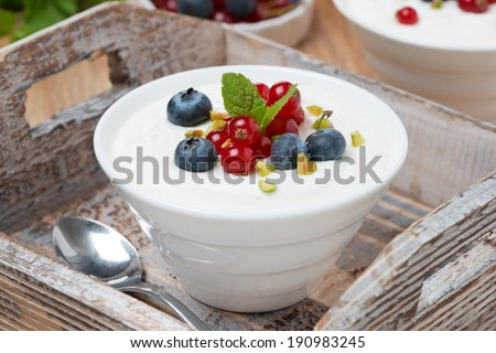 natural yogurt with fresh berries in a bowl on wooden tray, close-up - stock photo