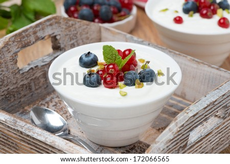 natural yogurt with fresh berries on a wooden tray, close-up - stock photo
