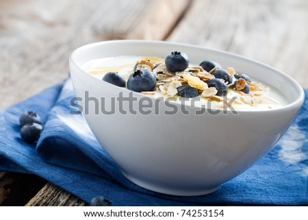 Natural yogurt with fresh blueberries, selective focus - stock photo