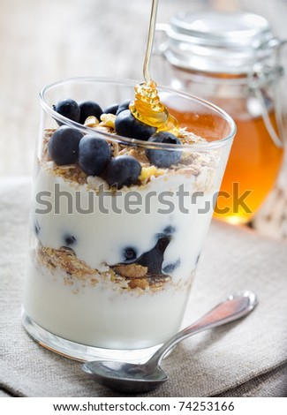 Natural yogurt with fresh blueberries, selective focus - stock photo